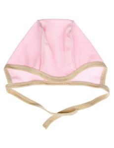 Чепчик для малышей розового цвета с бежевой окантовкой