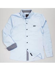 """Рубашка для мальчиков голубого цвета с контрастными деталями """"Бой"""""""